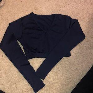Varsity Navy Blue V-Neck Cheer Uniform Shell